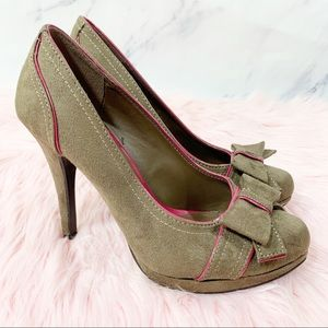 Limelight Brown Suede Pink Piping Caprice 6.5